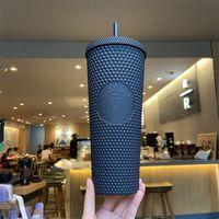 24 oz Starbuck Tumblers semoule 710 ml de plastique double couche souple souple de personnalité classique Coupe froide avec cadeau de fête de paille tasses à café de la bouteille d'eau