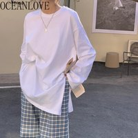 T-shirt Femme OceanLove Blanc Camisetas de Mujer Lâche manches longues à manches longues 2021 Spring Casual ins fashion o cou solide femme t-shirts