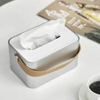 Tissue Boxes & Napkins Portable Box Holder Square Napkin Dispenser Organizer Container With Leather Handle For El Kitchen