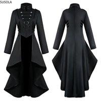 Giacche da donna Plus Size Donne Giacca Gothic Steampunk Button Giacca Femminile Corsetto Fashion Moda Costume Halloween Costume Cappotto lungo Ladies Solid Tailcoat