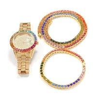 Quartz en acier inoxydable bling glaçage de tennis link chaîne collier bracelet montre 3pcs ensemble pour hommes hip hop bijoux