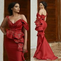 2021 Aso Ebi Arabic Red Sexy Mermaid Evening Dresses Beaded Prom Gown Formal Dress Party Gowns ogstuff vestidos de fiesta