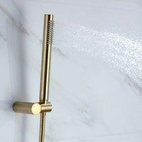 Gebürstetes gold messing bad handheld duschen duschen einstellen halter 1,5 m butschschlauch