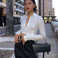 Bazenova Casual Turn Aşağı Yaka Kırpma Üst Yüksek Sokak Kadınlar Seksi Derin V Boyun Düğmeler Uzun Kollu Katı Beyaz F478 Kadın T-Shirt Tops