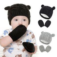 Caps & Hats Baby Kids Girls Boys Winter Warm Knit Hat Ear Solid Cute Glove 2pcs Lovely Beanie Cap 0-18M