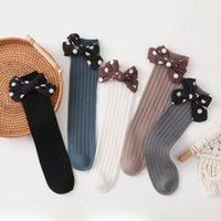 Çorap Toddlers Kızlar Ilmek Diz Yüksek Uzun Yumuşak Pamuk Bebek Bebek Çocuklar Sıyrık Dalga Noktası Çocuk Nefes Prenses Çorap 1459 B3