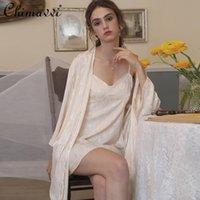 Sexy Sling Nightdress para mujeres 2021 Primavera Satén delgada Jacquard Camisón Seda Seda de manga larga Sólido Dos piezas Sistema de la ropa de dormir