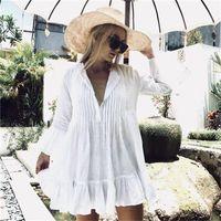 Women's Swimwear Rayon Pleated Buttons Ruffle Pullover Beach Cover Ups Sexy Women Vacation Sun Protection Shirt Loose Bikini Swimsuit Up