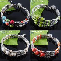 """Braccialetto 4pcs tibetano antico braccialetti vintage turchese pietra rotonda perline bracciale gioielli per le donne ragazze 6.5 """"-7"""" TBZ02"""