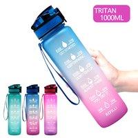 32OZ / 1L 스포츠 체육관 및 야외를위한 재사용 가능한 Tritan Drinkware를 마시는 동기 부여 타임 마커가있는 패션 병