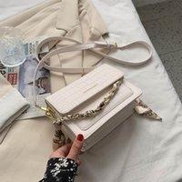 Designer- shoulder bag stone grain messenger bag lady small bag silk scarf female chain lady