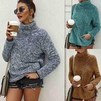 Women's Jackets Autumn Winter Plush Coat Loose Pocket Hoodie Women Soft Knitted Casual Sweaters Outerwear Female Thick Warm High Neck Pullov
