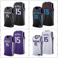 2021 Vintage Men Retro Classic Basketball Jersey Davion 15 Mitchell Sacramento…Kings…Shirts Breathable shorts Black blue white Size S-2XL