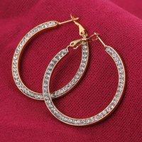 Hoop & Huggie 25 40mm Korean CZ Stainless Steel Big Smooth Circle Earring For Women Female Retro Drop Earrings 2021Trend Fashion Jewelry