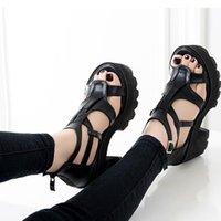 Dress Shoes 2021 Brand Design Gladiator Black Gothic Style Square High Heels Platform Fashion Casual INS Sandals Women