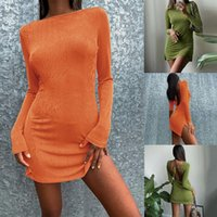 Casual Dresses Fashion Long Sleeve Autumn Split Dress For Women Club Party Elegant Tie Up Sexy Backless Mini