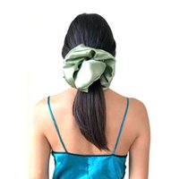 Satin Silk Solid Color Scrunchies super Big Size Elastic Hair Bands Women Girls Accessories Ponytail Holder Hair Ties