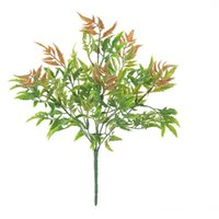 الزهور الزهور أكاليل 8 شوك النباتات الاصطناعية محاكاة الأخضر العشب ورقة الخريف pteris السرخس يترك الجدول المنزل حديقة جدار الزفاف د