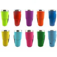 Cor sólida reutilizável gelo copo de café manga manga neoprene isolado garrafa de água caneca titular caso sacos bolsas para 30oz 32oz copo fwa5744