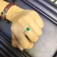 Cluster Rings Natural And Real Emerald Ring 925 Sterling Silver 3*5mm 2pcs Gemstone Fine Jewelry