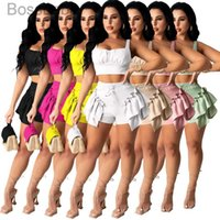 Womens 2 Two Piece Pants T Shirt Tracksuits Designer Summer Shorts Crop Top Shorts Yoga Outfits Casual Dress Women Clothing Plus Size 837