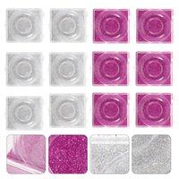 12pcs Vider faux cils Boîtier de rangement Boîte de rangement (Rosy, argent) Cils