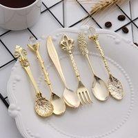 6 pz / set mini stile royal cucchiai forchette vintage metallo intagliato caffè frutta dessert posate forcella forcella forchetta tè gelato cucchiaino cucchiaino posate