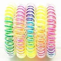 Donne Girls Elastico Hairbands a forma di spirale Forma per capelli Coil Capelli Cerchio Cerchio Telefono Telefono Linea Fascia Rainbow Gradiente Capodanno Accessori G38EDZY