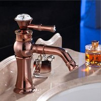 Bathroom Sink Faucets Rose Gold Deck Mounted Single Handle Counter Top Basin Faucet, Antique Brass And Cold Water Mixer Taps ORB