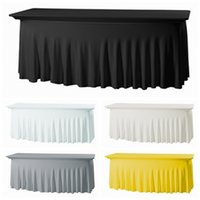 Rektangel monterad stretch spandex bordskåpa tyg lycra lång bar tyg för el evenemang fest dekoration 210626