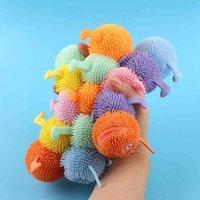 Giocattoli irrequieto Gonfiabile Luminosa Glue Soft Soft Animal Vent Giocattolo a cinque sezioni Lampeggiante Caterpillar TPR DECOMPRESSION Squeeze Giocattolo