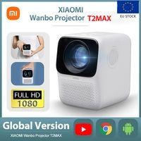 AB Stok Global Android Xiaomi Wanbo T2Max 1080 P Mini LED Projektör Wifi Android Sistemi Youtube Telefon için 200ANSI Full HD Taşınabilir Ev Sineması Sinema