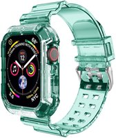 Clear Watch Straps For iwatch 38 40mm 42 44mm Crystal colorful Soft Band with Red Bumper Case