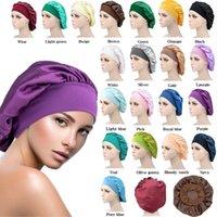 Women Wide Band Satin Silk Bonnet Cap Solid Color Comfortable Night Sleep Cap Soft Silk Long Hair Care Bonnet Headwrap Shower