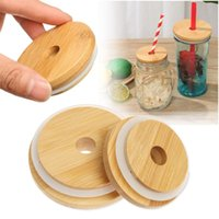Kitchen Storage & Organization 1PC Reusable Bamboo Wood Lids Jar Lid With Straw Hole Wide Mouth Cup Bottles Covers Caps Silicone Seal Ring
