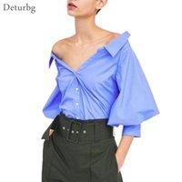 Camisas de las blusas de las mujeres Deturbg Sexy fuera de los tops de los hombros Femenino Casual 3/4 Lantern Sleeve Profundo V Cuello Azul Blusa 2021 Primavera Br50