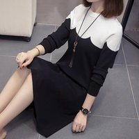 Knitted Winter Dress Women Casual O- neck Patchwork Warm Eleg...