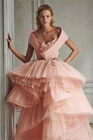 Princess Dresses Multilayered Ruffles Hi-Lo Graceful Evening Dress Custom Made Elegant Short Sleeves Party Gown