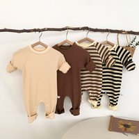 Autumn New Style Baby Girls Long Sleeve Waffle Rompers Infant Boys Striped Casual Jumpsuit Kids One Piece Clothes For 0-2y