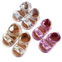 Sandalias Baby Girls Toddler Bowknot Soft Sole Primeros caminantes Zapatos infantiles Cinturón tejido para 0-18m