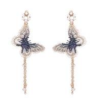 Fashion Women Pearl Earrings Embroidery Butterfly Crystal Long Tassel Drop Dangle Earrings Jewelry aretes de mujer modernos