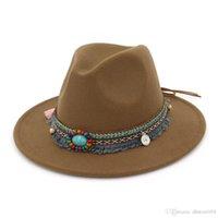 Best HOAREE Gray Fedora Hat Ladies Vintage Felt Hat Women Casual Ethnic Style Wide Brim Woolen Winter 2020 New Trilby Cap
