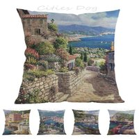 Cushion Decorative Pillow Country Style Italian Town Oil Painting Art 45*45cm Square Case Cushion Cover Bar Sofa Coves