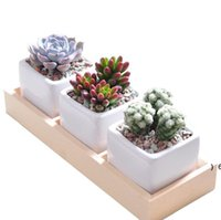 3 Grids Flower Pots Box Tray Wooden Succulent Plant Fleshy Flowerpot Containers Home Decor OWB7029