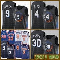 НовыйЙоркKnicks 2021 Новый RJ 9 Barrett Баскетбол Джерси Патрик 33 Ewing Mesh Ретро 30 Юлий Рэндл Мужской 4 Деррика Роуз Дешевый Лаванда Шампанское