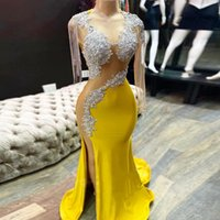 High Split Long Mermaid Yellow Prom Dress With Illusion Sleeve Tassel Plus Size African Evening Gowns Graduation Gala Dresses