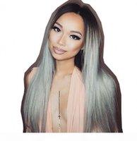Parrucche anteriori del merletto in pizzo grigio 1B grigio parrucca di capelli umani diritte di capelli scuri