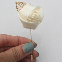 Marfim Silk Rose Flower Groom Boutonniere Gold Alloy Bridal Wedding Decor de Mariage Corsage Brooch Flower for Best Man