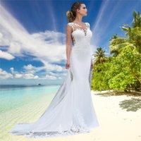 2021 Brides Wedding Dress Sleeveless Lace Jewel Appliqued Mermaid White Beach Bridal Gowns
