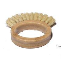 Doğal Bambu Ahşap Kolu Temizleme Fırçası Yaratıcı Oval Yüzük Sisal Bulaşık Fırçaları Ev Mutfak Malzemeleri 10 * 3 cm AHA5214